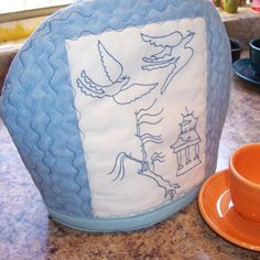 Willow Ware Tea Cozy embroidered by aprilsongstress