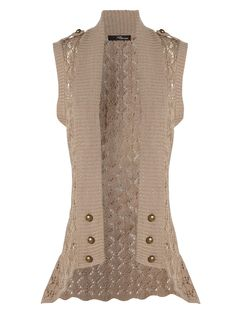 Crochet Button Sleeveless Cardigan - £17.50.