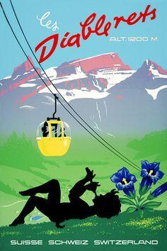 Les Diablerets, Switzerland Vintage travel poster http://vintagevenus.com.au/products/vintage_poster_print-tv962