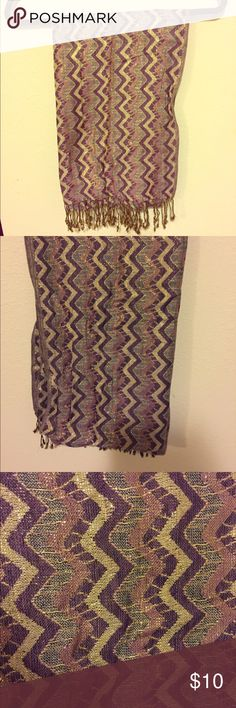 Indian Zig Zag Scarf This metallic rayon Scarf was made in India and is ready to wear! Good condition, may have a few small snags. Accessories Scarves & Wraps