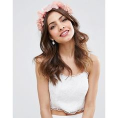 ASOS Occasion Flower Garland Headband (275 MXN) ❤ liked on Polyvore featuring accessories, hair accessories, pink, floral garland, floral headband, head wrap headband, flower crown headband and pink flower crown