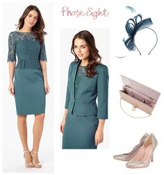 Phase Eight modern wedding guest and Mother of the Bride outfit. Steel blue lace top peplum style dress and matching jacket.