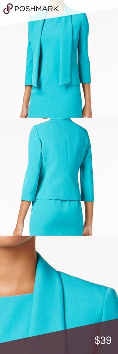 Kasper Shawl-Collar Blazer Opal Petite Size 14P Kasper's shawl-collar blazer is a chic way to show off the style of your favorite shells and blouses. Shawl collar Open front; no closure Three-quarter sleeves Welt pockets at front Lined; shoulder pads Hits at hip Polyester/elastane; lining: acetate ***New with store tags Kasper Jackets & Coats Blazers