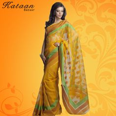 Mango Color Net Saree With Border In Three Colors
