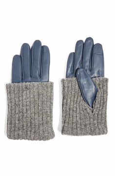 Ladies Molly Petrol Blue Wool Mix Gloves with Grey Pom Poms One Size
