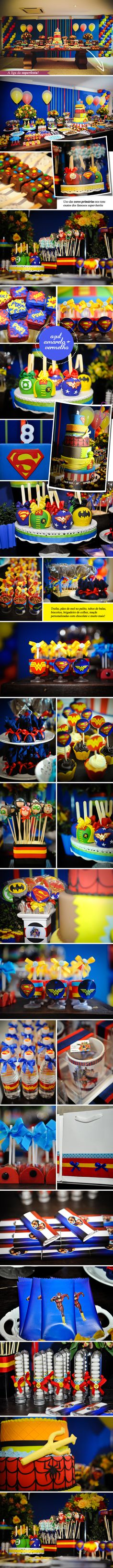Superheroes Theme - Oh my wow! Look at that table. That's one amazing food table, and those cake pops are divine!