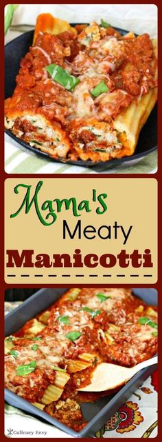 Mamas Meaty Manicotti Is Deliciously Rich And Creamy Italian Seasoned Meat And Three-Cheese Ricotta Spinach Stuffing. Snap To Read More Or Pin and Save For Later Pasta Recipes, Beef Recipes, Cooking Recipes, Cooking Corn, Cheap Recipes, Dishes Recipes, Recipies, Meat Stuffed Manicotti Recipe, Al Dente