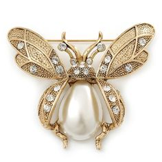 Vintage Inspired Crystal- Simulated Pearl 'Bumble Bee' Brooch In Antique Gold Tone - 60mm Across - CP11F4I82D7 - Brooches & Pins  #jewellrix #Brooches #Pins #jewelry #fashionstyle
