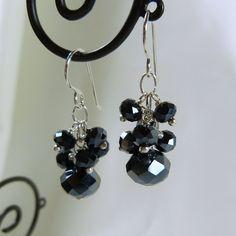 Slate Grey Faceted Crystal Earrings by tbyrddesigns on Etsy