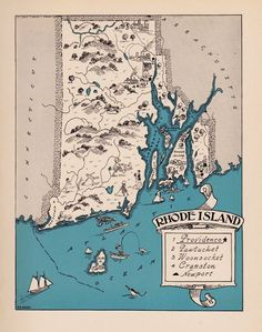 Rare Rhode Island Map Funky 1930s Original Map Whimsical Map Blu 2442