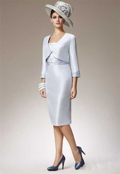 Elegant And Simple Designer Silver Taffeta Mother Of The Bride Dress In Evening Wear Plus Size Formal Women Gowns Mother Of The Bride Dresses Vintage, Mother Of The Bride Trouser Suits, Mother Of The Bride Gown, Tea Length Dresses, Plus Size Dresses, Elegant Outfit, Elegant Dresses, Plus Size Formal, Cheap Cocktail Dresses