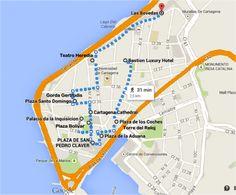 16 mapa roteiro - cidade murada amuralhada fortificada centro historico - Turismo tour guiado cartagena das indias colombia dicas de viagem o que fazer passeios roteiros