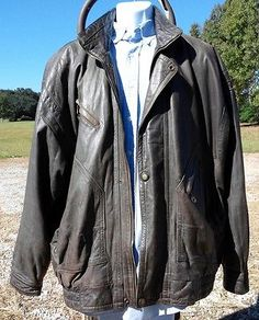 Leather Jacket Size 2XL 2 XL Big & Tall Vintage Brown Leather DONAR - on eBay -> http://bayfeeds.com/ebayitem.php?itemid=331517683727