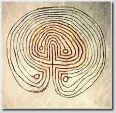 A classical labyrinth with 15 paths  (16 walls), painted on the wall of Roerslev Church, Denmark