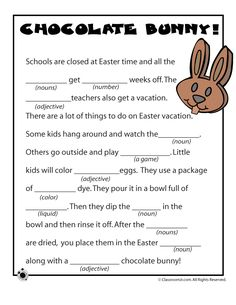 Easter Mad Libs Easter Mad Libs - Chocolate Bunny! – Classroom Jr.