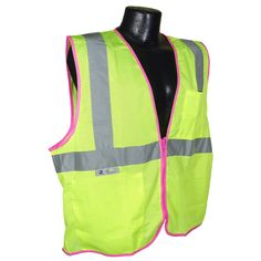 Full Source FS2ZPM Class 2 Mesh Safety Vest with Zipper - Yellow/Lime with Pink Piping - Want a unique safety vest from all the others out there? This exclusive vest from Full Source features pink piping and is ANSI class 2 compliant unlike safety vests that are entirely pink. | #SafetyVest
