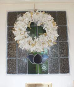 Christmas Rag Wreath Door Hanging - White & Gold