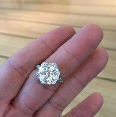 A Belle Époque Hexagonal-cut Diamond Ring, weighing 8.18 carats, c.1910