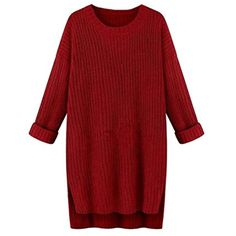 Sheng Xi Women's Batwing Crewneck High Low Hem Mid Long Knit Sweater *** Click image for more details. (This is an affiliate link) #Sweaters