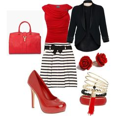 LOVE the skirt and blazer. Black, white and red is my fave!