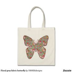 Floral grey fabric butterfly tote bag