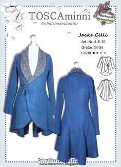 Schnittmuster Damenjacke mit Schalkragen Gr. 54 (Diy Clothes Upcycle)