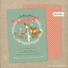 Woodland Invitation / Woodland Baby Shower Invitation Set - Printable or Printed Flat Cards on Etsy, $20.00