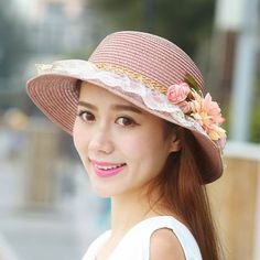 Lace flower straw hat UV package summer sun hats for women