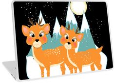 Cute baby deer festive snow Scene with snow capped mountains and fun cartoon…