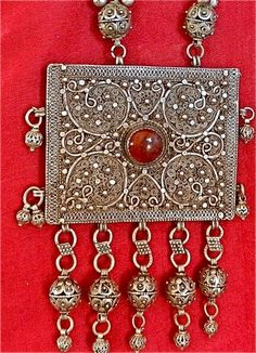 Wear a pocket of prayer: Antique Yemen Silver Bawsani Filigree Amulet Necklace with Prayers | craftsofthepast - Jewelry on ArtFire