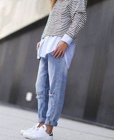 How To Wear Boyfriend Jeans With Sneakers Stan Smith 62 Ideas Fashion Mode, Look Fashion, Autumn Fashion, Womens Fashion, Fashion Trends, Fashion News, Trendy Fashion, Looks Chic, Looks Style