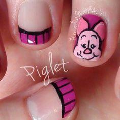 Nail Art Piglet Nail Art