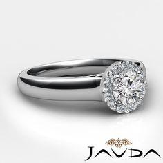 Round Diamond Engagement GIA F Clarity VS1 18K White Gold Halo Pave Ring 0 92ct | eBay