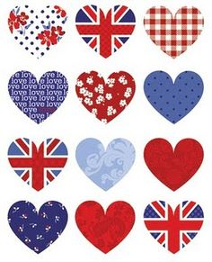 love the red white and blue hearts...not necessarliy the British flag :)