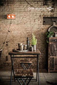 One World interiors - Factory folding table & stool - Picture: Paulina Arcklin