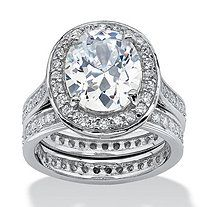 6.47 TCW Oval-Cut Cubic Zirconia Two-Piece Halo Bridal Set in Platinum over Sterling Silver