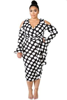 f12d28d654b Curvy Black White Polka Dot Cold Shoulder Midi Dress
