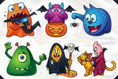 A set of cute cartoon monsters for Halloween: orange creature eating witch hat, trick or treat purple monster, blue monster found a little spider, green monster trying to scare you, secret society beast, monster riding a cat. Format: Vector Ai, Vector Eps + Transparent PNG
