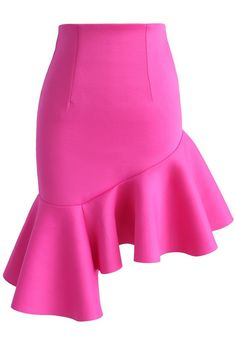 Hot Pink Charm Asymmetric Airy Frill Hem Skirt - New Arrivals - Retro Indie and Unique Fashion Hot Pink Skirt, Frilly Skirt, Ruffle Skirt, Chicwish Skirt, Unique Fashion, Womens Fashion, Fashion Fashion, Led Dress, Asymmetrical Skirt