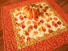 Quilted Fall Table Topper with Burnished Autumn Leaves of Gold Rust and Orange…