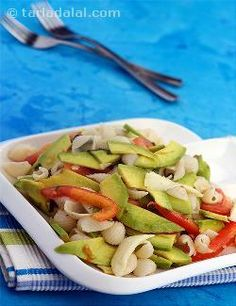 Avocado, Tomato and Mozzarella Pasta Salad with mustard and basil dressing in olive oil and walnuts for a crunch. Vegetable Salad Recipes, Vegetarian Salad Recipes, Healthy Salad Recipes, Indian Salads, Mozzarella Pasta, Italian Recipes, Pasta Salad, Avocado, Olive Oil