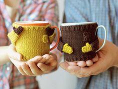 Winter coffee :)...cute mug warmers...