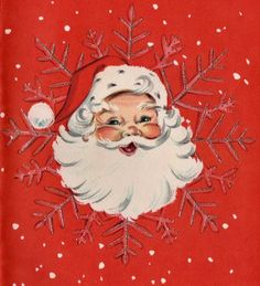#retrochristmas Vintage Christmas Card. Retro Santa and Snow.