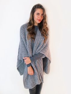 PATTERN for Blanket Poncho Crochet Wrap Cape by TwoOfWandsShop