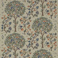 William Morris & Co Archive Embroideries Kelmscott Tree Fabric - Russet/Forest - 230341