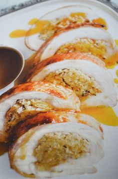 Rolled Turkey with Maple and Bacon Stuffing.  Adapted from Donna Hay magazine Issue 66