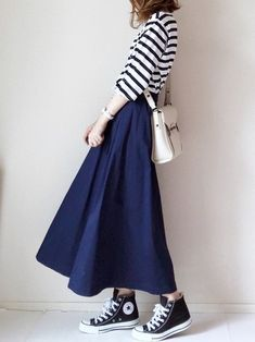 How tо Wear Clothes thаt Flatter Yоu Long Skirt Fashion, Korean Fashion Dress, Muslim Fashion, Korean Outfits, Modest Fashion, Hijab Fashion, Girl Fashion, Fashion Dresses, Womens Fashion