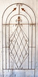75 Wrought Iron Lg Triple Finial Trellis Wrought Iron Flower Trellises This is a wider flower trellis for a bigger plant growing surface and would