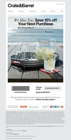 Crate and Barrel - Exclusive savings just for you. Win Back, Kitchen Sale, Email Design, Crate And Barrel, Email Marketing, Furniture Decor, Crates, How To Apply, Engagement