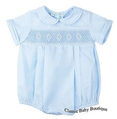 2db33b58dbd Feltman Brothers Blue Diamond Smocked Creeper Romper Boys Newborn 3 6 9  Months